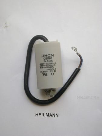 Kondenzátor 450 V 2,0 mF kábel + csavar  Ø30x57mm.