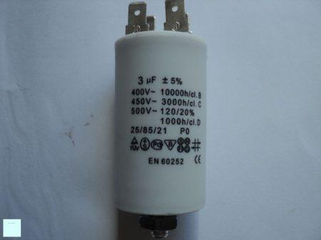 Kondenzátor 3µF. 450V  sarus+csavar  Ø30x57mm.
