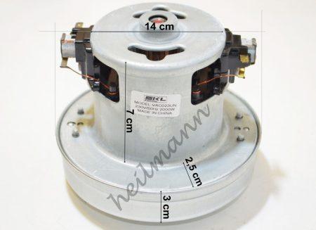 Porszívó motor kicsi 2000W univerzális, fémházas # magasság: 120MM, Ø130MM. 2000W, 230V, 50HZ. (023)#